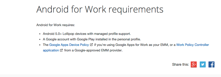Android for Work Requirements